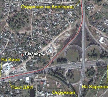 Схема поворота от Харькова на